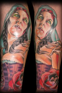 Mary Magdeline tattoo Portrait by Justin Acca modelled by Lucia Mocnay