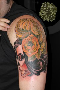 Day of the Dead Floral Girl tattoo by Justin Acca