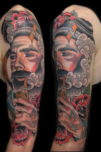 lumberjack with a beard smoking a pipe neo traditional tattoo by justin acca