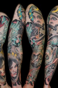 By Justin Acca, Sailor and Arctic scene sleeve tattoo with Eskimo girl Neo traditional