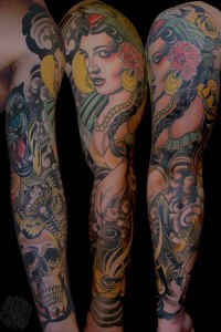 Lady gypsy Sleeve Tattoo in Colour by Justin Acca