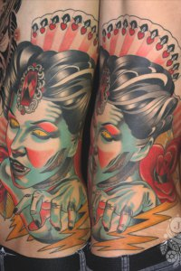 Vampire Lady Tattoo by Justin Acca sidepiece, neotraditional, model Lucia Mocnay
