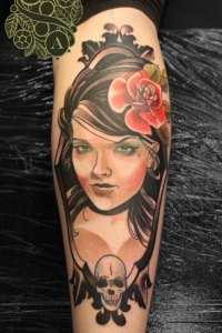 Neotraditional portrait part 2, alive girl, by Justin Acca