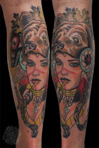 By Justin Acca, Neotraditional tattoo Indian Lady wearing bear mask