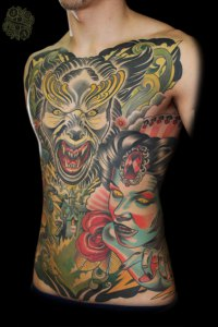 Front and Side of Villians Wolverine and Vampire tattoo by Justin Acca, Vampire model Lucia Mocnay