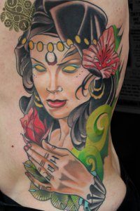 Neo trad Tattoo Goddess lady by Justin Acca