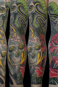 Skulls and Snakes tattoo Sleeve by Justin Acca