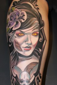 Zombie Girl tattoo by Justin Acca neo traditional