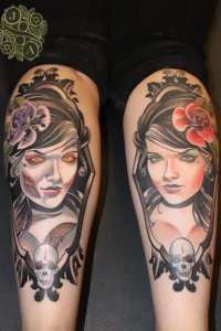 Zombie and Living Girls tattoos by Justin Acca