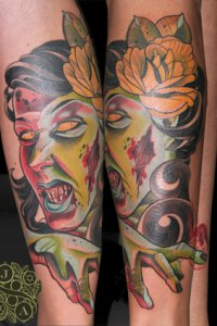 Zombie Girl Tattoo by Justin Acca modelled by Lucia Mocnay