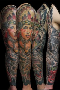 Native American Indian tattoo By Justin Acca Sleeve Neo traditional