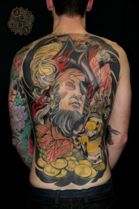 pirate full back tattoo by justin acca