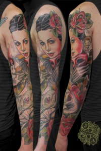 neotrad full sleeve of lady with a vulture feminine pretty tattoo by justin acca