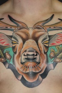Stag Head Chest Tattoo by Justin Acca