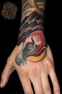 Vulture hand Tattoo by Justin Acca