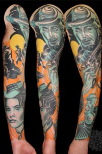 clint eastwood sleeve tattoo from western movie