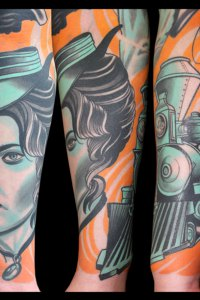 ladies head detail from clint eastwood sleeve by justin acca