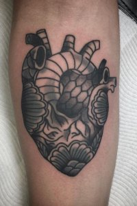 decorated anatomical heart tattoo by brendan