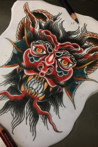 water demon design in colour for tattoo by brendan courts